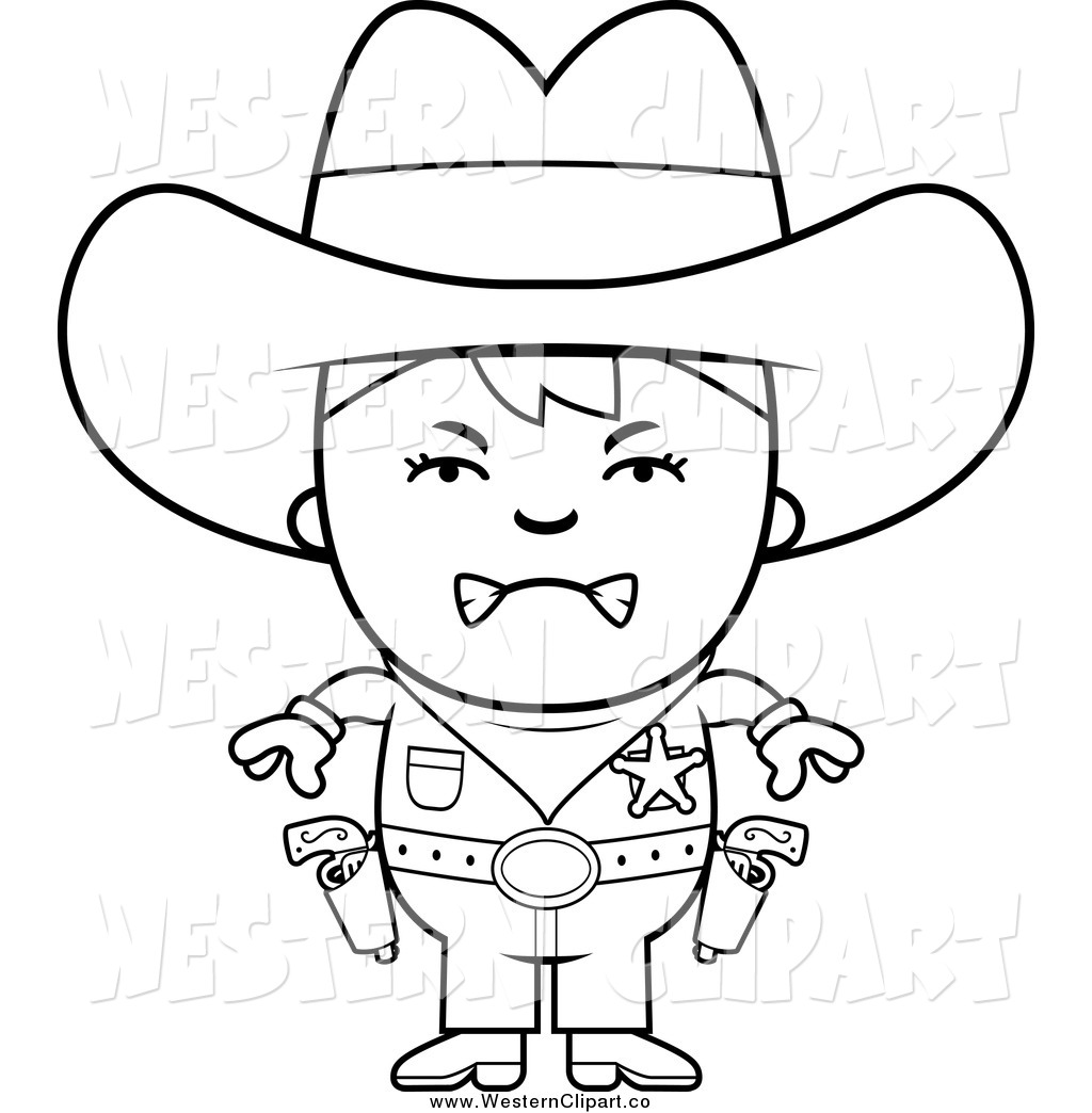 1024x1044 Vector Clip Art Of A Black And White Angry Sheriff Cowboy Kid By