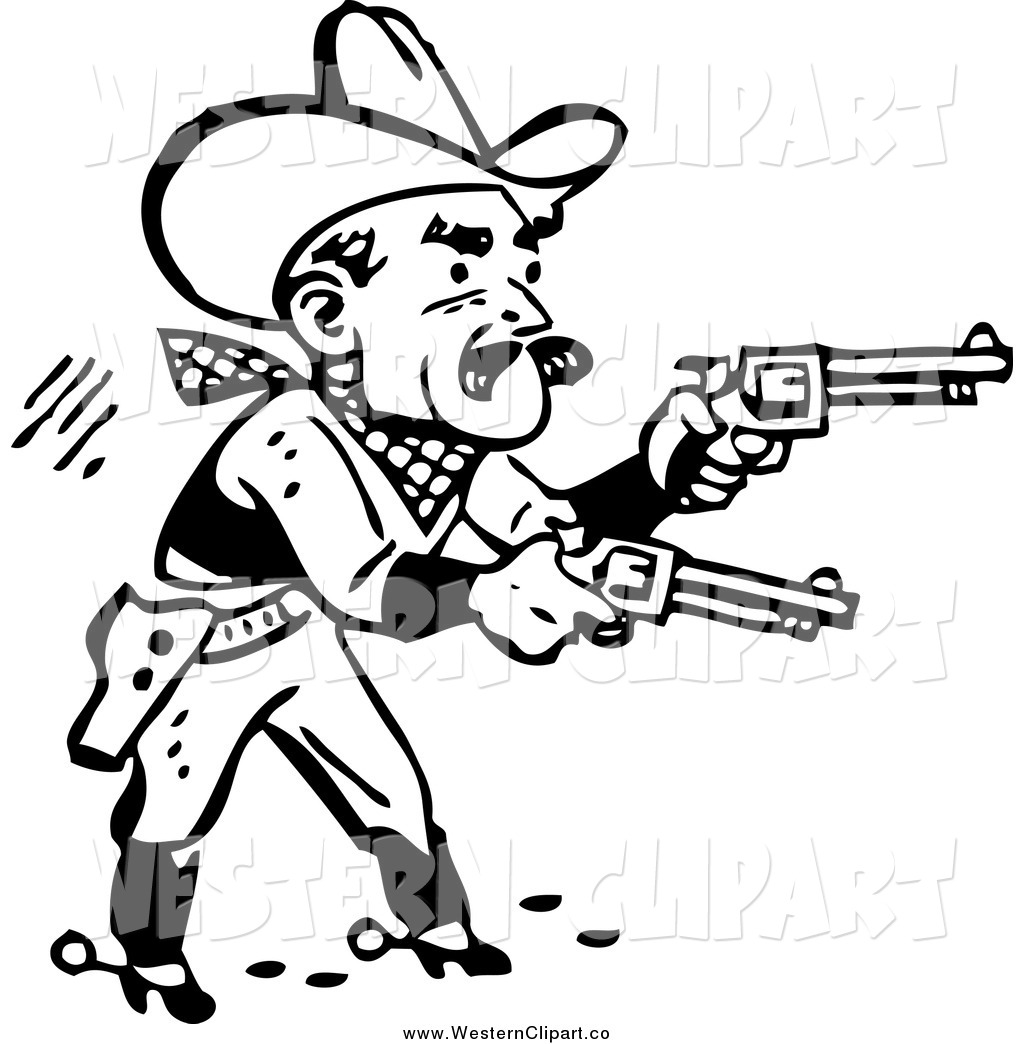 1024x1044 Vector Clip Art Of A Black And White Retro Cowboy Shooting Pistols