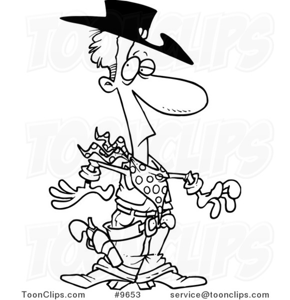 581x600 Cartoon Black And White Line Drawing Of A Western Cowboy
