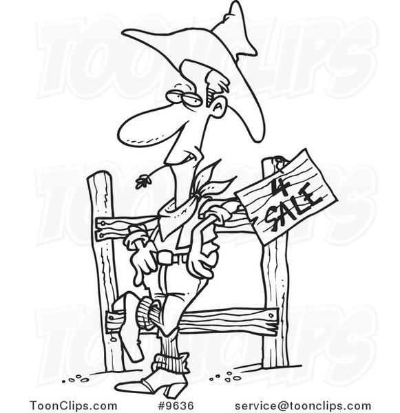 581x600 Cartoon Black And White Line Drawing Of A Western Cowboy Selling