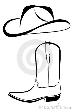 300x450 Western Black And White Clip Art Tribal Cowboy Hat And Boot