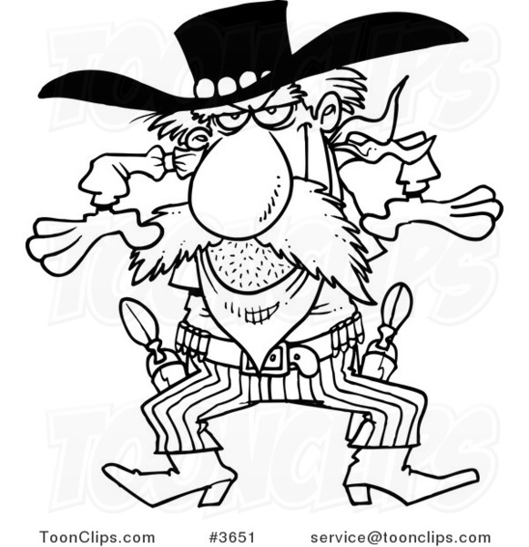 581x600 Cartoon Black And White Line Drawing Of A Western Gunslinger