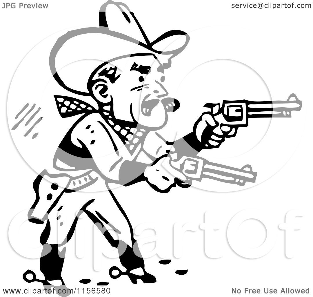 1080x1024 Clipart Of A Black And White Retro Western Cowboy Shooting Pistols
