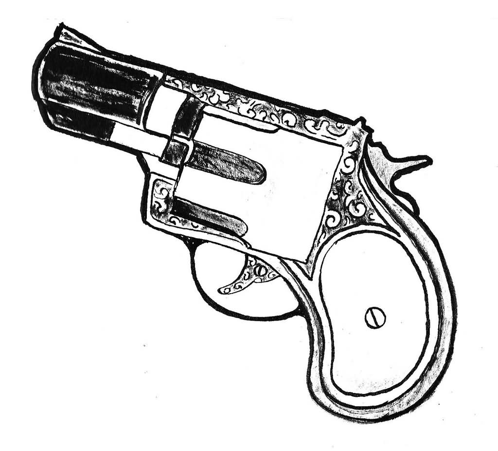 Western Revolver Drawing