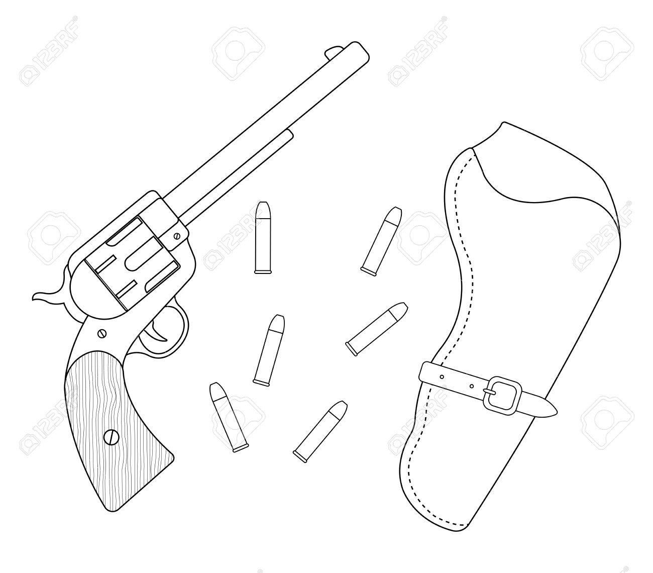 1300x1140 Wild West Wood Handle Revolver, Leather Holster, Bullets. Vector