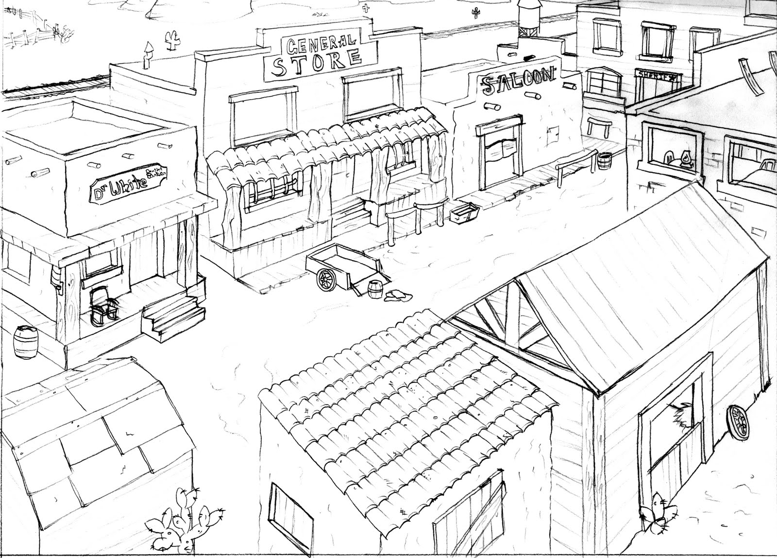 town coloring pages - western town drawing at free for