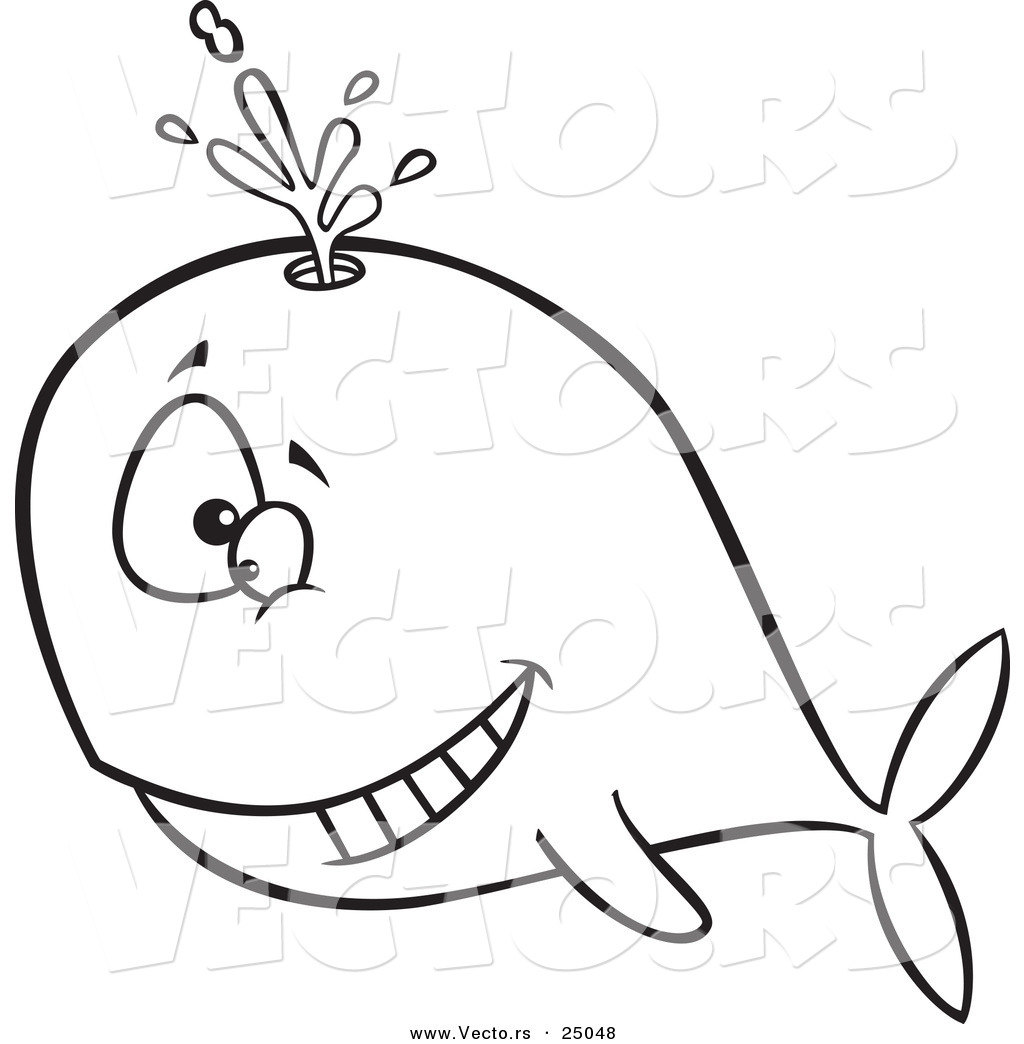 1024x1044 Vector Of A Cartoon Happy Whale Spouting