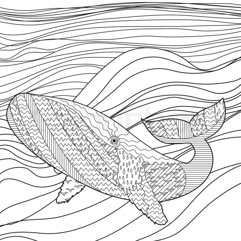 800x800 Hand Drawn Whale In The Waves For Anti Stress Coloring Page