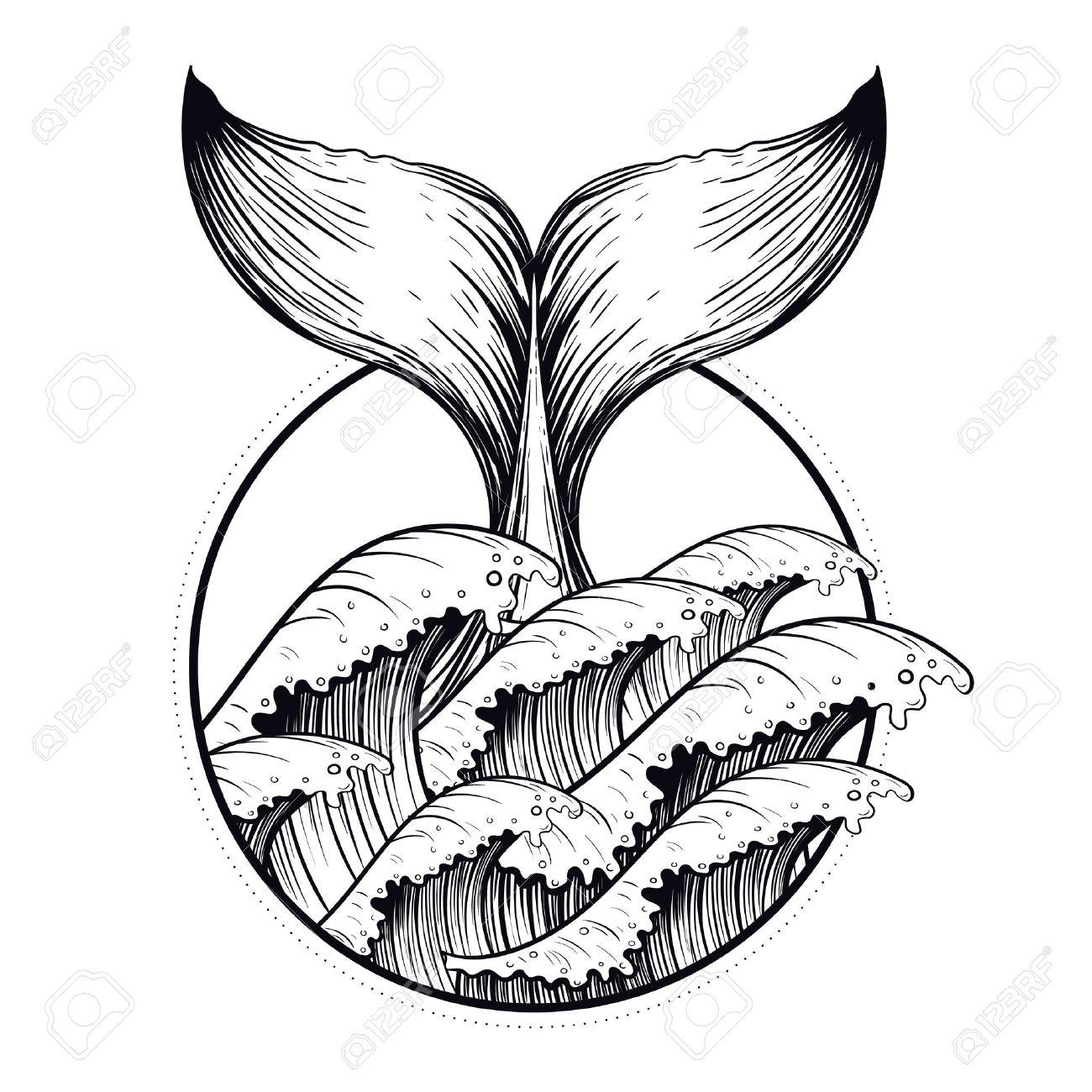 1300x1300 Whale Tail In Sea Waves, Boho Blackwork Tattoo. Ocean Line Art