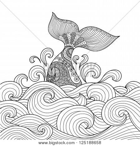 448x470 Whale Tail Wavy Ocean Line Art Vector Amp Photo Bigstock