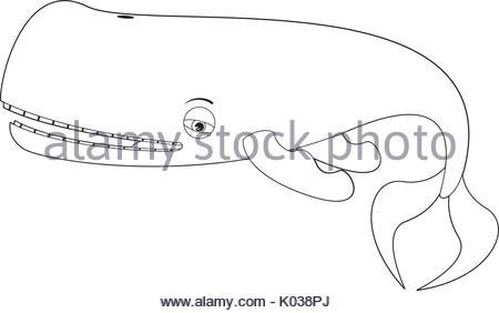 450x282 Cartoon Whale Line Drawing Vector Illustration Stock Vector Art