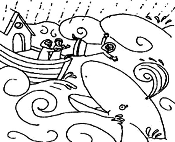 600x487 Jonah And The Whale Illustration Coloring Page
