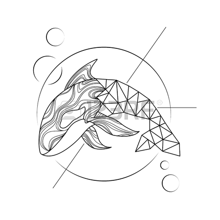 450x450 Stylized Hand Drawn Illustration Killer Whale Outline Low Poly