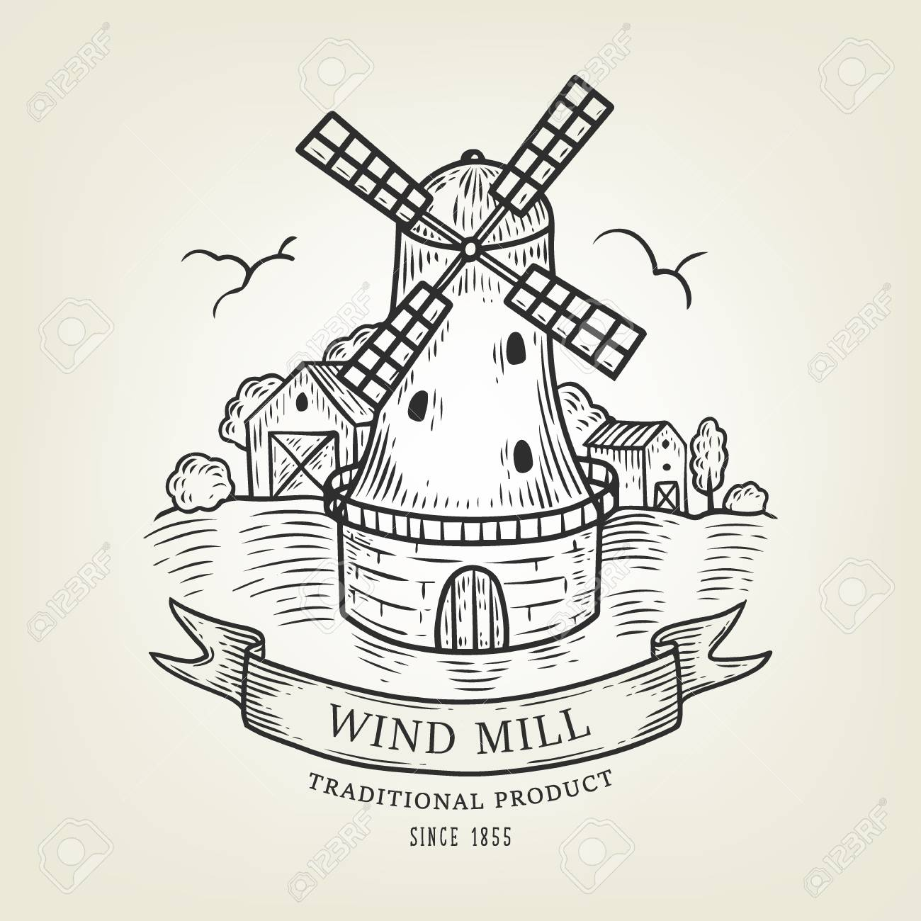 1300x1300 Vector Countryside Landscape With Windmill And Wheat Field. Rural