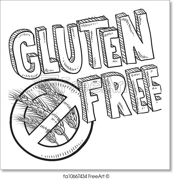 561x581 Free Art Print Of Gluten Free Food Label Sketch. Doodle Style