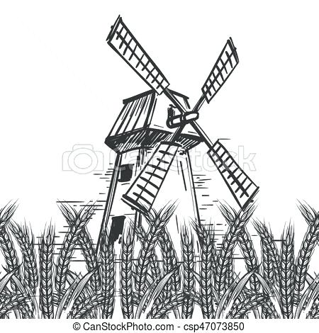 450x470 Landscape Clipart Farm Landscape With Mill And Wheat Vector