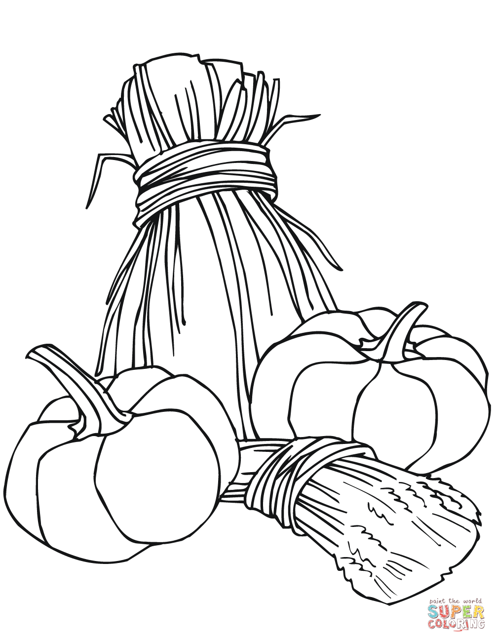 1005x1300 Pumpkins And Wheat Sheaves Coloring Page Free Printable Coloring