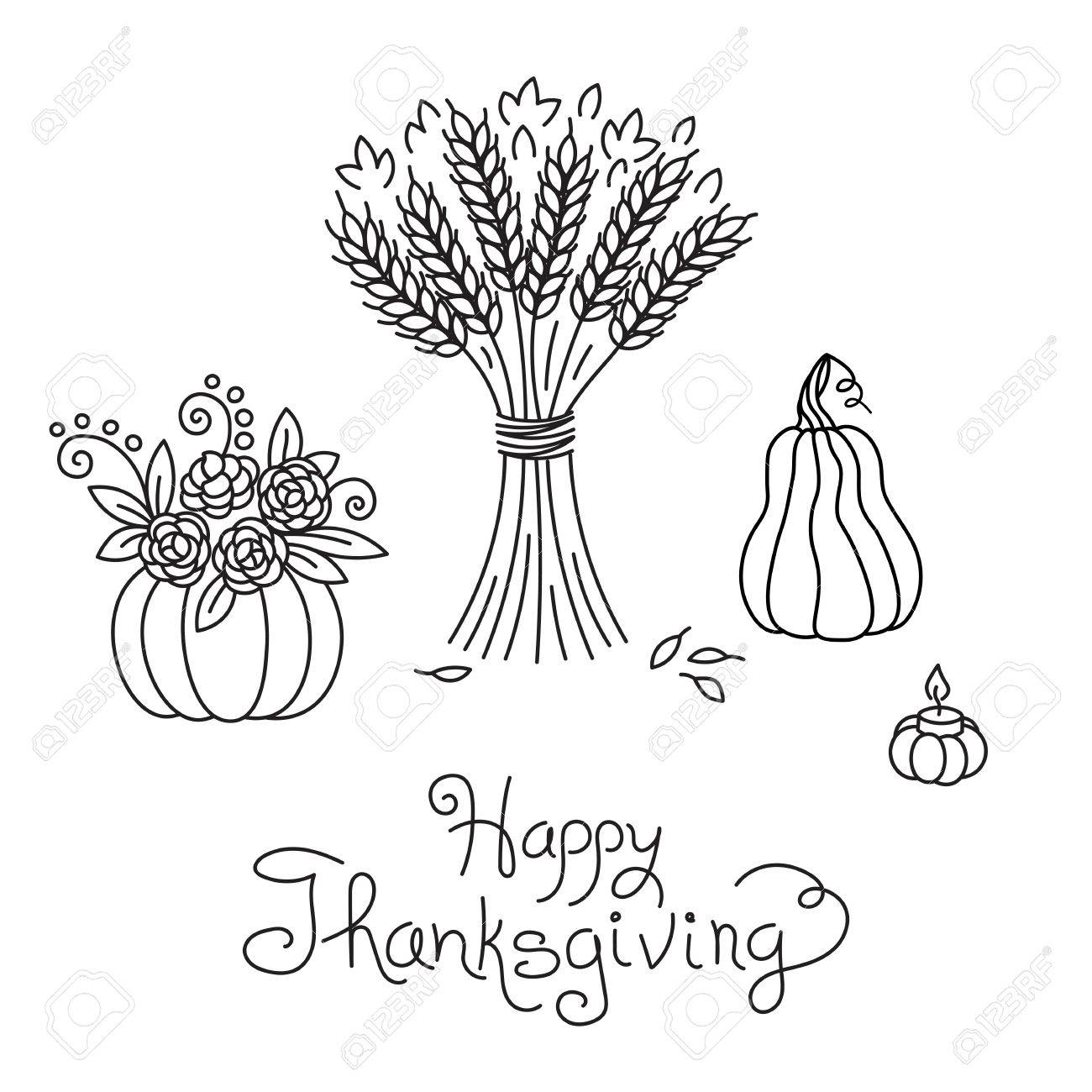 1300x1300 Doodle Thanksgiving Vintage Sheaf Of Wheat And Pumpkin Freehand