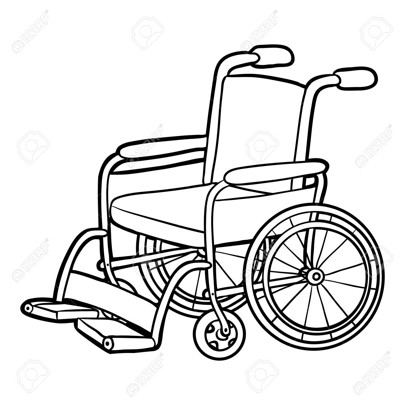 1300x1300 Coloring Book For Children, Wheelchair. Royalty Free Cliparts