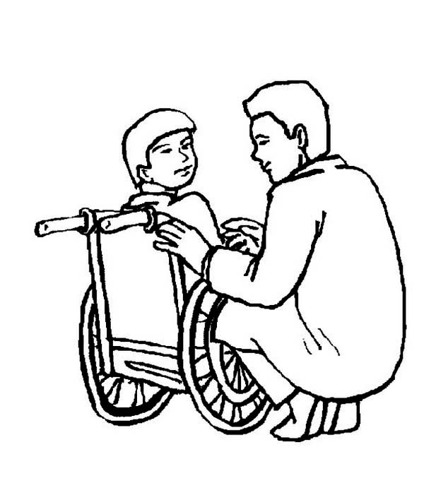 600x684 Doctor And A Little Boy On Wheelchair Coloring Page Coloring Sun