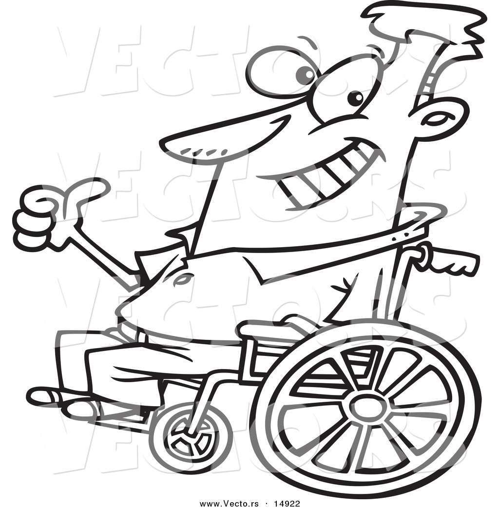 1024x1044 Vector Of A Cartoon Optimistic Man In A Wheelchair