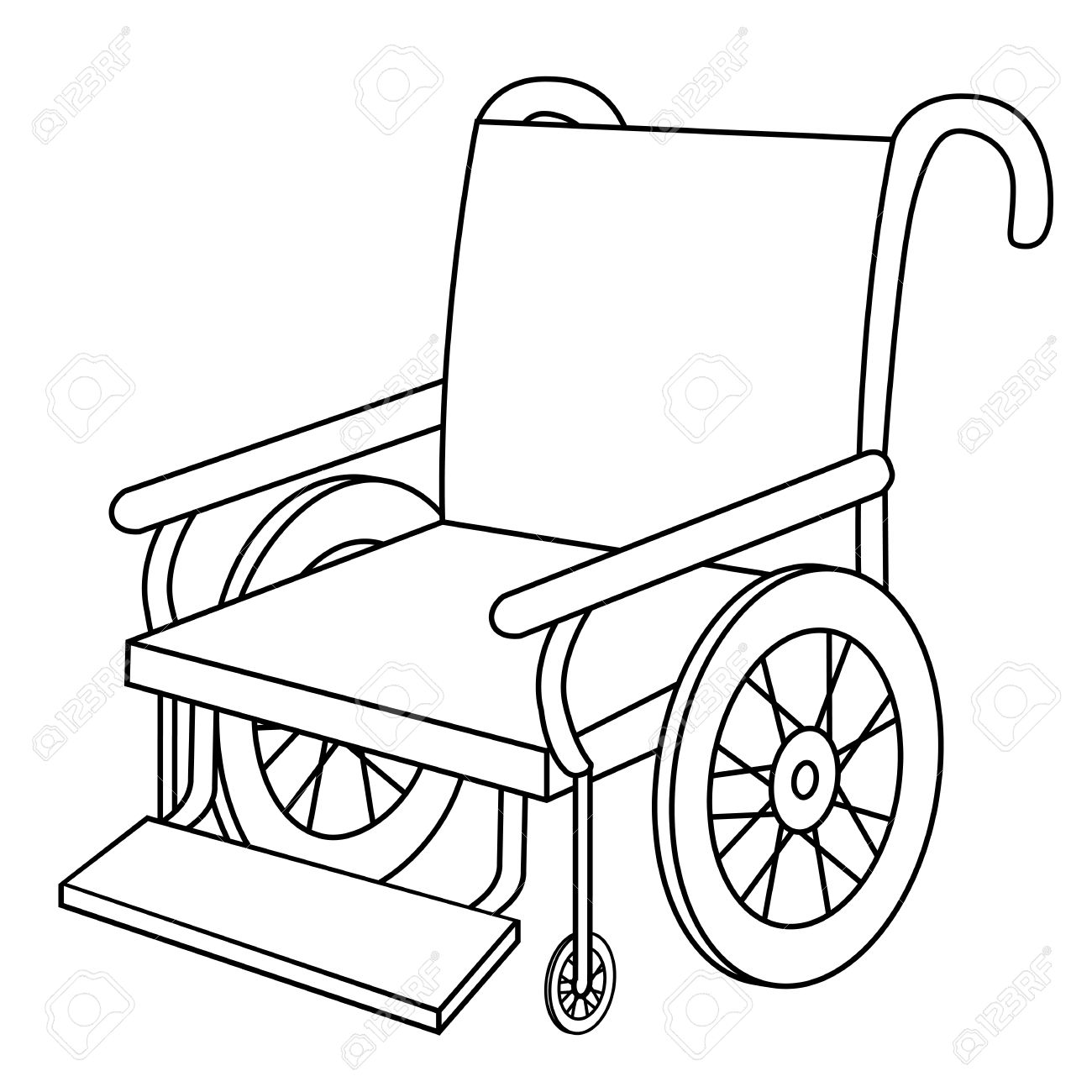 1300x1300 Black Outline Vector Wheel Chair On White Background. Royalty Free