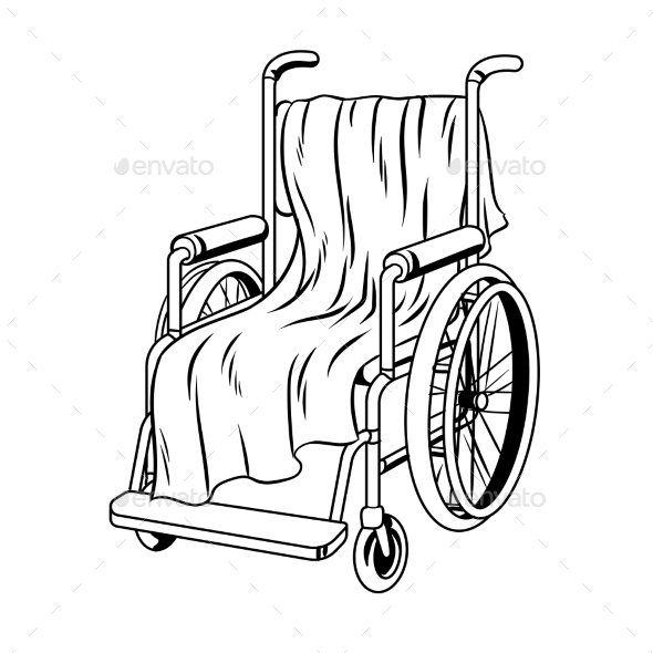 590x590 Wheelchair With Plaid Coloring Book Vector By Alexanderpokusay