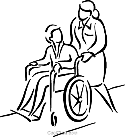 436x480 Nurse Pushing Patient In A Wheelchair Royalty Free Vector Clip Art