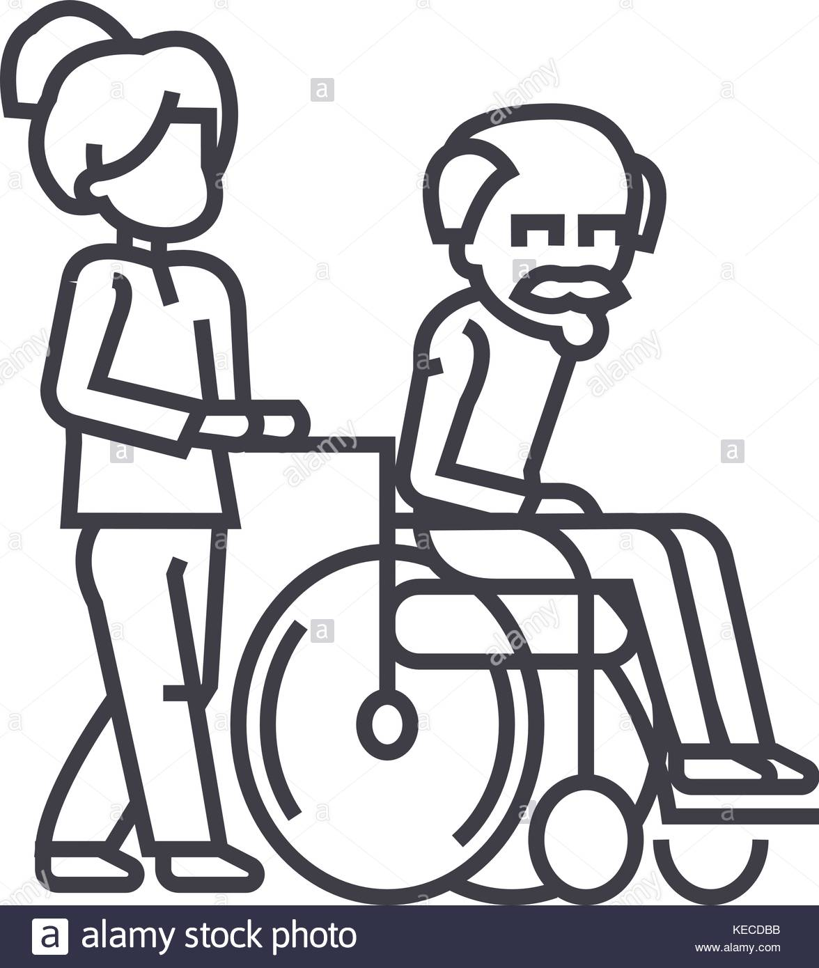 1176x1390 Young Woman, Social Worker, Strolling With Elder Man In Wheelchair