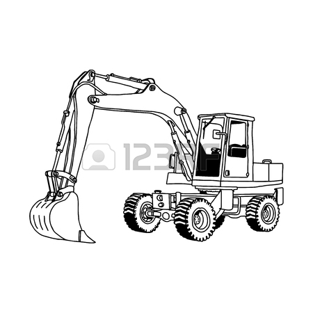 450x450 Illustration Vector Doodles Hand Drawn Of Wheel Loader Isolated