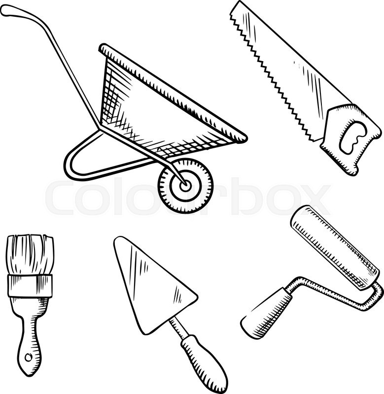 779x800 Hand Saw, Trowel, Wheelbarrow, Paint Brush And Roller Sketch Icons