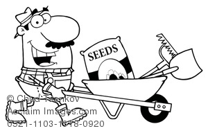 300x189 Image Of Coloring Page Of A Smiling Farmer Pushing Seeds And Tools