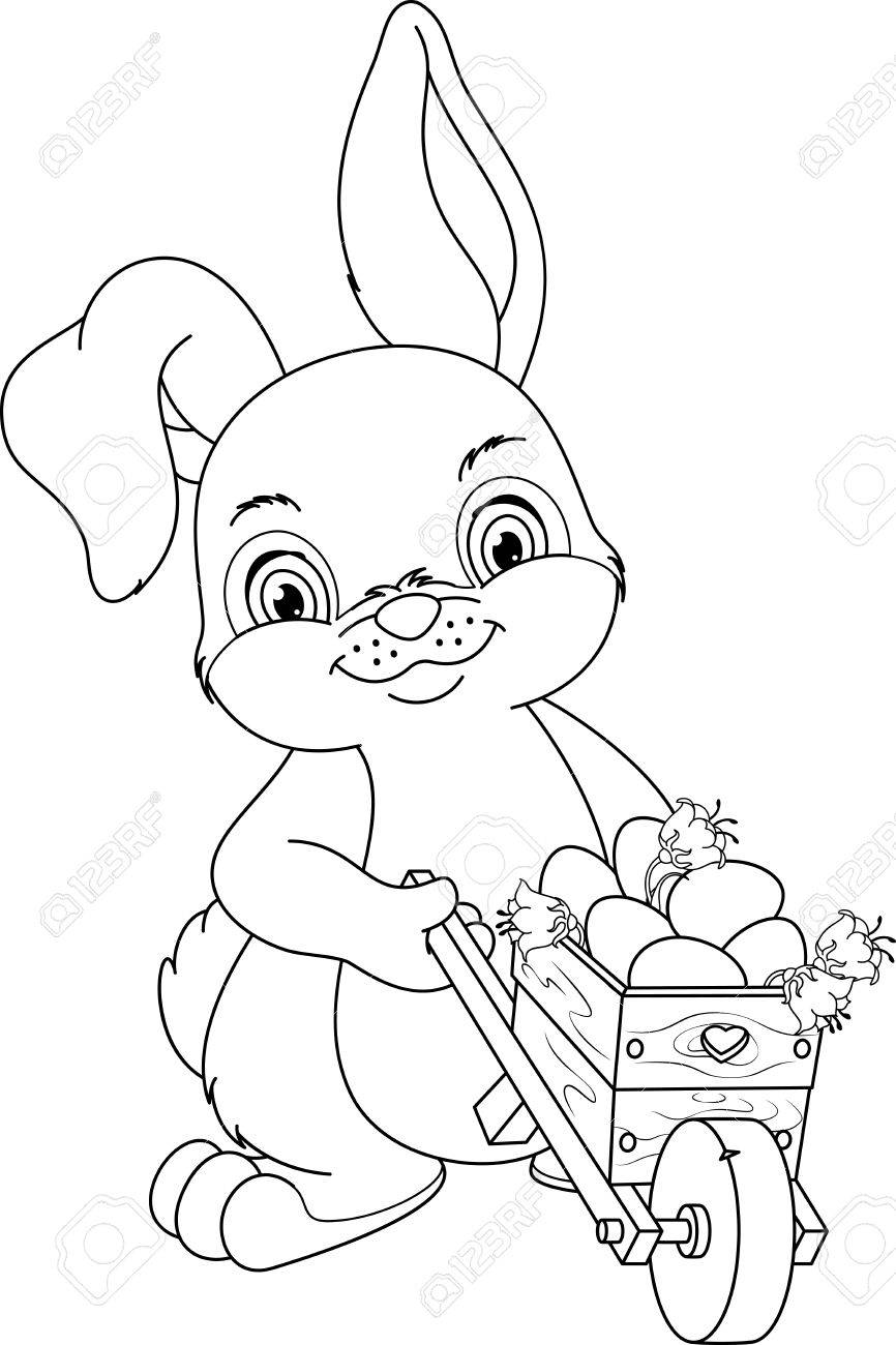 866x1300 Rabbit Wheeling A Wheelbarrow With Easter Eggs, Coloring Page