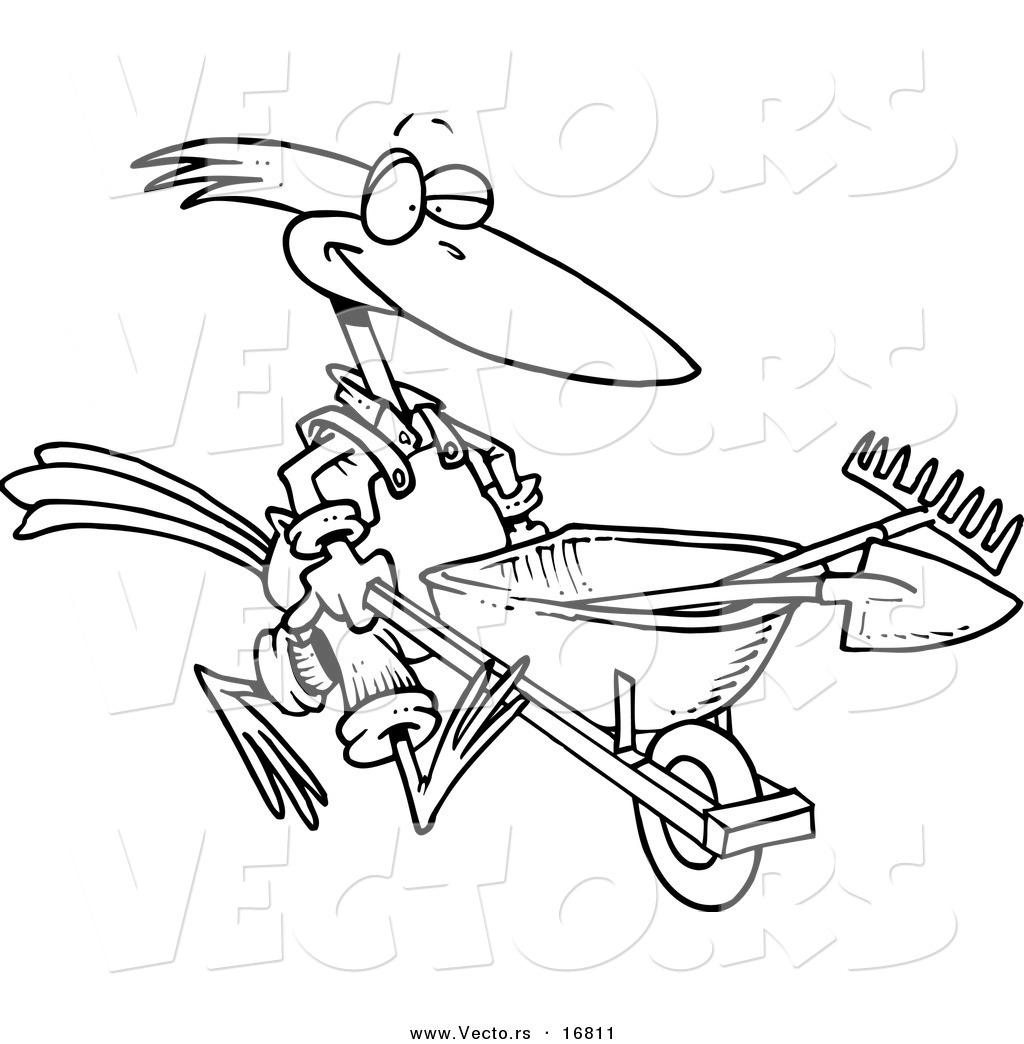 1024x1044 Vector Of A Cartoon Bird Landscaper Pushing A Wheel Barrow
