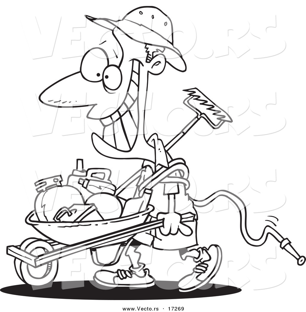 1024x1044 Vector Of A Cartoon Happy Borrower Pushing A Wheelbarrow