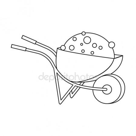 450x450 Wheelbarrow Icon In Outline Style Isolated On White Background