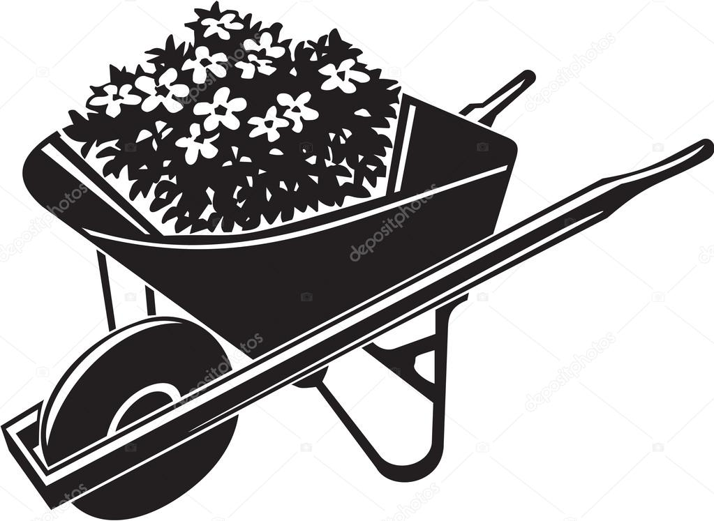 1023x747 Wheelbarrow With Flowers Stock Vector Alliedcomputergraphics