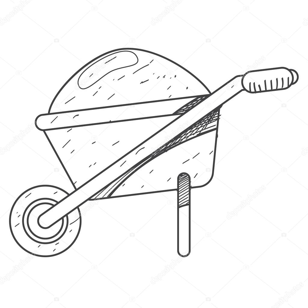 1024x1024 Wheelbarrows For Construction Icon Outline Drawing. Stock Vector