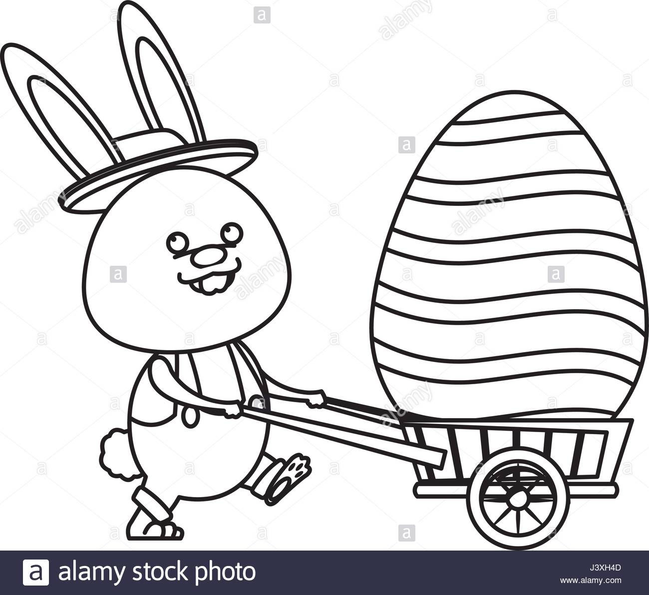 1300x1191 Easter Rabbit With Decor Egg Wheelbarrow Line Stock Vector Art