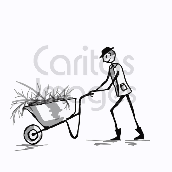 600x600 Stick Man Pushing A Wheelbarrow Jenette Coldrlck Vector Art