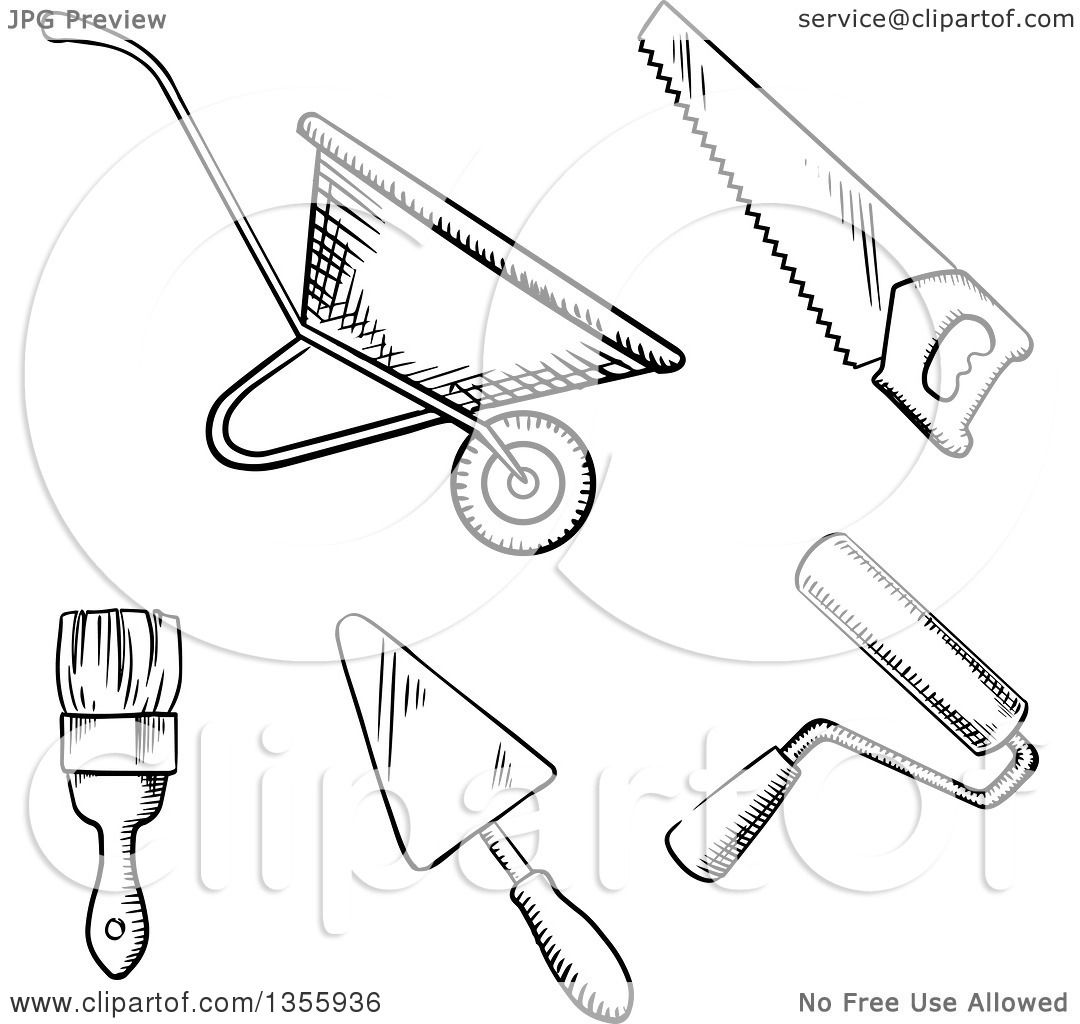 1080x1024 Clipart Of A Black And White Sketched Wheelbarrow, Saw, Paint