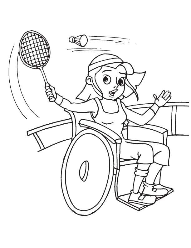 612x792 Girl Playing Badminton On Wheelchair Colouring Pages