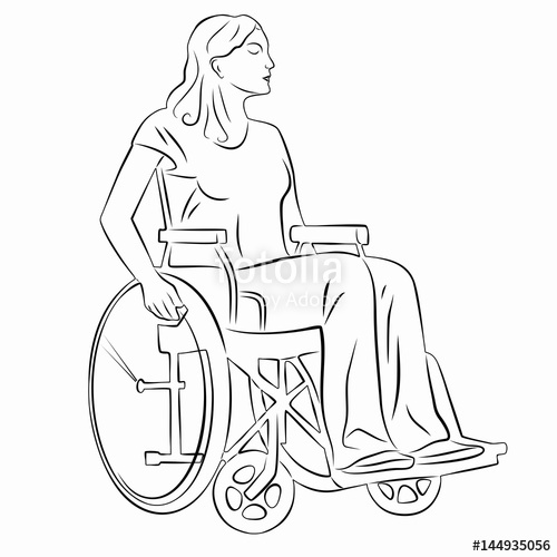 500x500 Illustration Of A Disabled Person In Wheelchair, Vector Draw