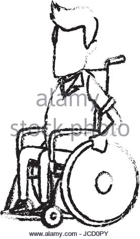 277x470 Old Man Character Disabled Sitting In Wheelchair Image Stock