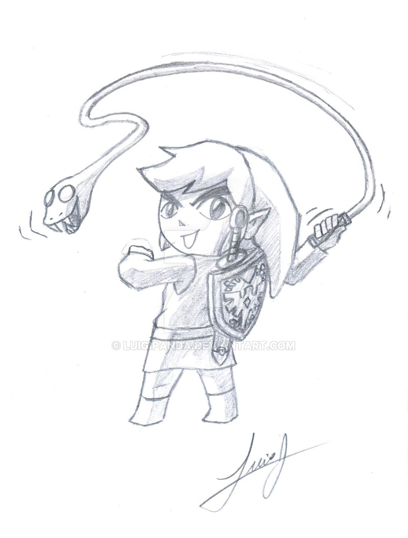800x1054 Link With Whip Sketch By Luigipanda