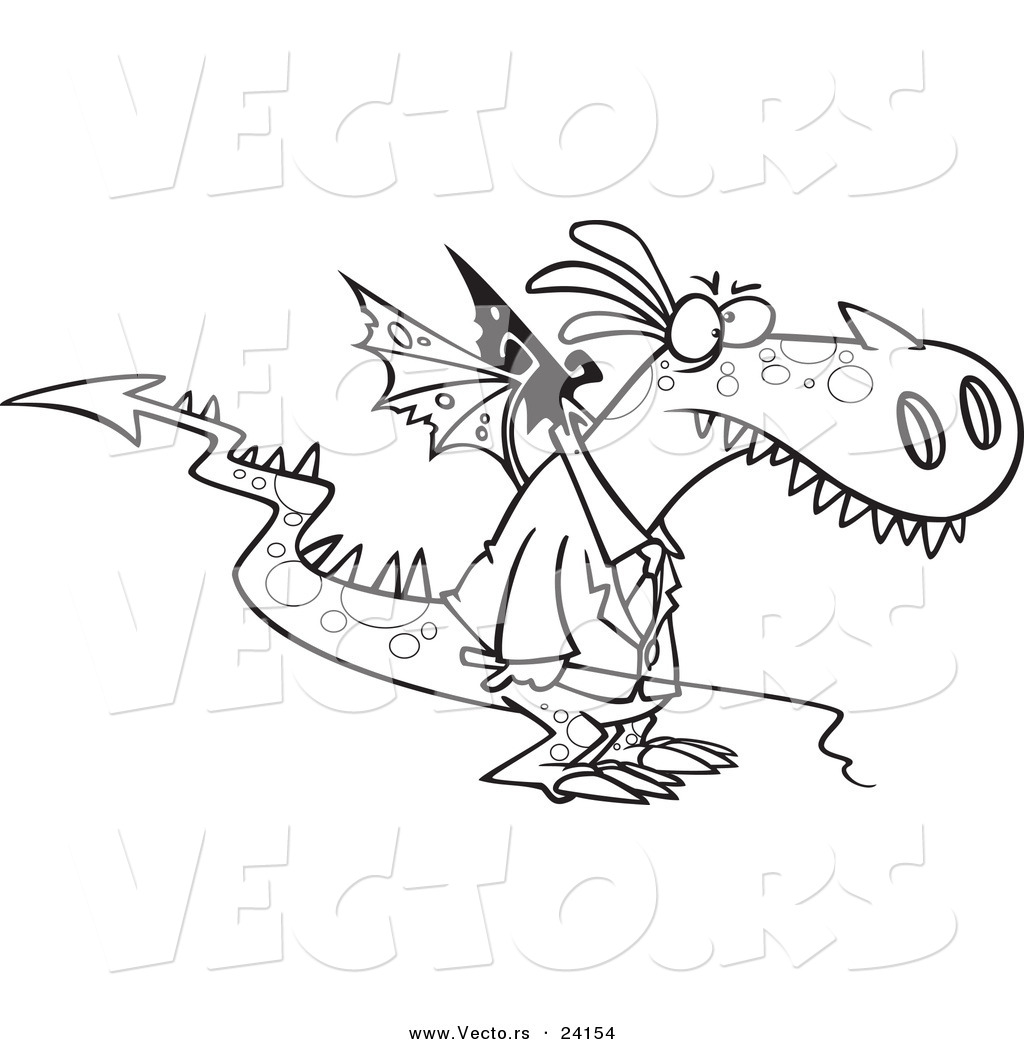 1024x1044 Vector Of A Cartoon Mad Dragon Boss Holding A Whip