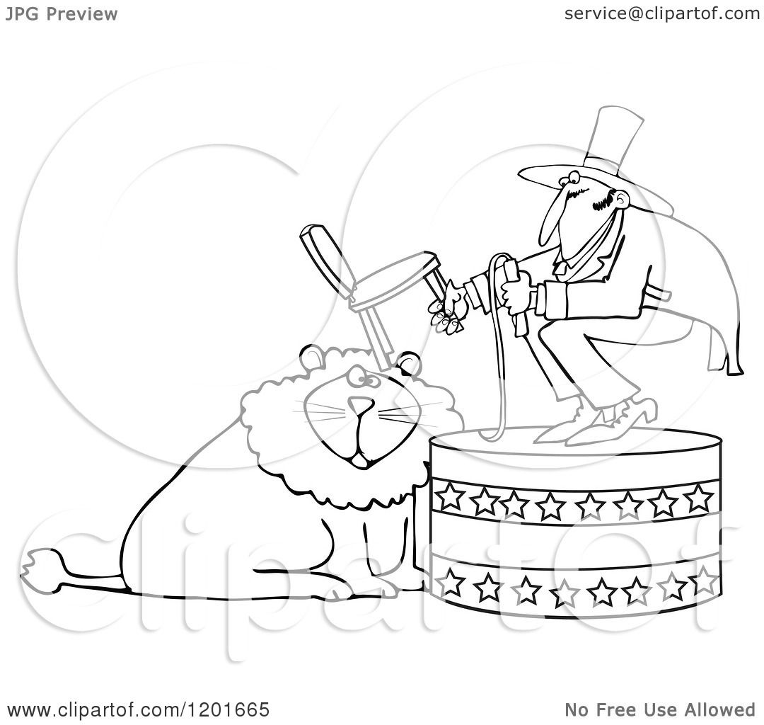 1080x1024 Cartoon Of An Outlined Circus Tamer Holding A Chair And Whip Over