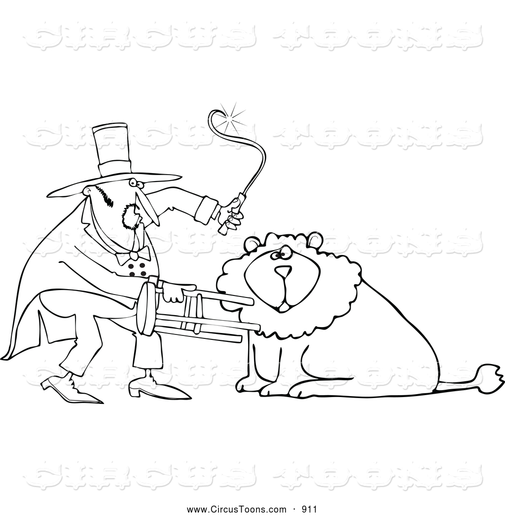 1024x1044 Circus Clipart Of A Coloring Page Outlined Circus Lion Tamer