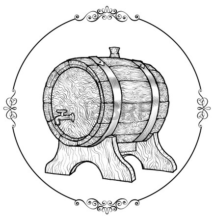 436x450 Vector Sketch Illustration Of A Wooden Wine Barrel With The Faucet