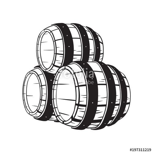500x500 Wooden Whiskey Barrel. Hand Drawn Vector Illustration Stock Image